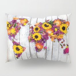 French Floral Bouquet on Rustic Upcycled Palette Wood World Map Art Pillow Sham