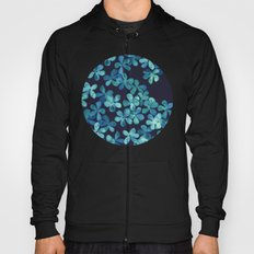 Hand Painted Floral Pattern in Teal & Navy Blue Hoody