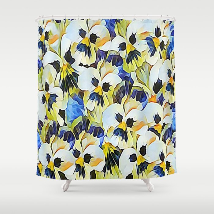 Delightful Summer Painted Pansies Shower Curtain By Judypalkimas