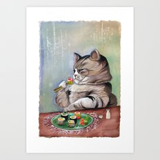 Sushi Cat- Fancy Feast Art Print