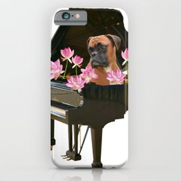 Boxer Dog in Piano with Lotos Flowers iPhone Case