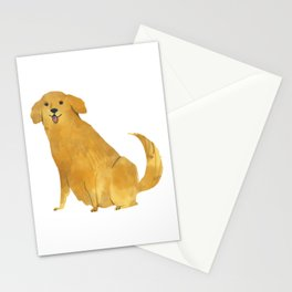 Golden retriever adorable illustration Stationery Cards
