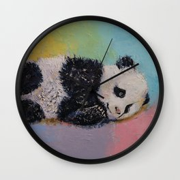 Baby Panda Rainbow Wall Clock
