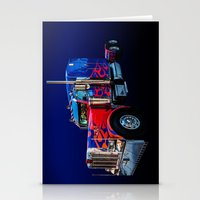 optimus prime Stationery Cards featuring Optimus Prime Blue by Steve Purnell