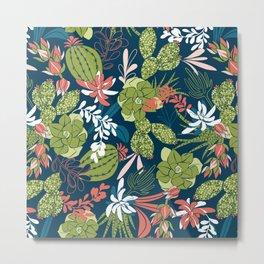 Succulent Garden Navy Metal Print
