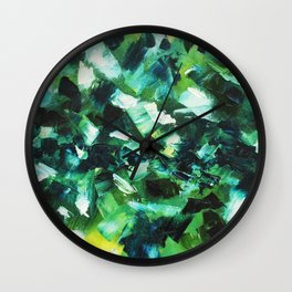 Yellow, Blue and Green Abstract Painting Wall Clock