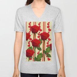 YELLOW SCARLET ROSES & RED VALENTINE HEARTS Unisex V-Neck