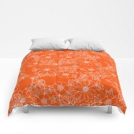 Hand drawn white bright orange modern floral Comforters