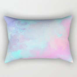 Artistic modern pastel pink blue watercolor brushstrokes Rectangular Pillow