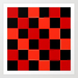 Red & Black Checkers : CheckerBoarD Art Print