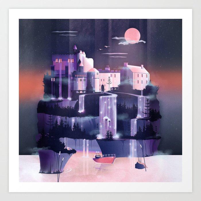 Waterfall Castle Art Print