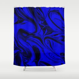 Black and Blue Swirl - Abstract, blue and black mixed paint pattern texture Shower Curtain