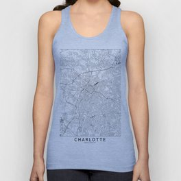 Charlotte White Map Unisex Tank Top