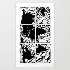Monotype Map (Black) Art Print