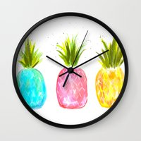 pineapples Wall Clocks featuring Pineapples  by Melanie Dorsey Designs