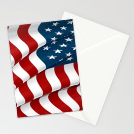WAVY AMERICAN FLAG JULY 4TH ART Stationery Cards