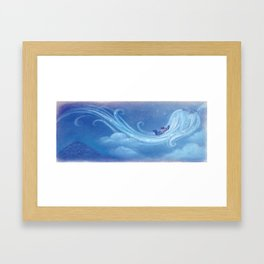 """Celeste and The Wind // Illustration from """"Once Upon A Cloud"""" Framed Art Print"""