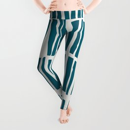 Turquoise Vertical Dash Stripe Line Pattern Sherwin Williams Trending Colors of 2019 Oceanside Dark Aqua Blue SW 6496 on Off White Leggings