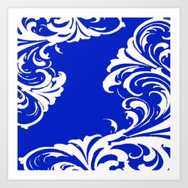 Damask Blue and White Art Print