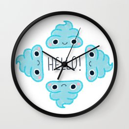 Blue poop Wall Clock