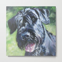 Giant Schnauzer Dog Portrait Art from an original painting by L.A.Shepard Metal Print