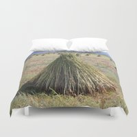 sesame street Duvet Covers featuring Harvested Sesame Crop by taiche