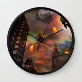 Super Hero Showdown Wall Clock