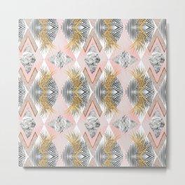 Marbled tropical geometric pattern II Metal Print