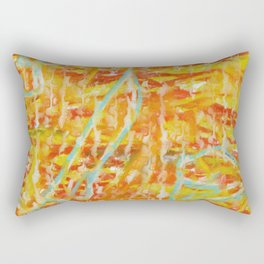 Composition In Yellow, Orange And Blue Rectangular Pillow
