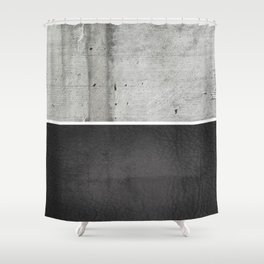 Raw Concrete and Black Leather Shower Curtain