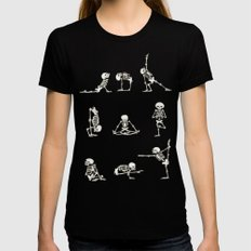 Skeleton Yoga SMALL Black Womens Fitted Tee