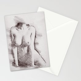 Naked Woman Pencil Drawing Stationery Cards