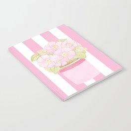 Pink Primrose on Pink Stripes Notebook