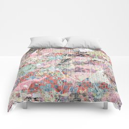 Dallas map flowers Comforters