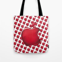 apple Tote Bags featuring Apple by JT Digital Art