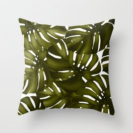monstera leaves 3 Throw Pillow