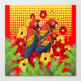 GREEN TROPICAL YELLOW MACAWS & RED YELLOW HIBISCUS Canvas Print