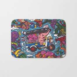 Elephant riding tuktuk Bath Mat