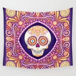Cute Sugar Skull - Day of the Dead Skull Art by Thaneeya McArdle Wall Tapestry