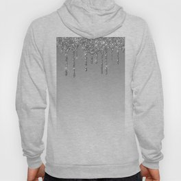 Gray & Silver Glitter Drips Hoody