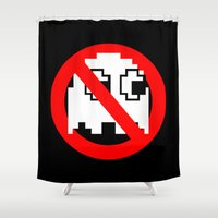 pacman Shower Curtains featuring Pacman Ghostbusters by dutyfreak