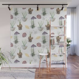 Mushrooms, spurge, horsetail, lily of the valley, leaves. Wall Mural