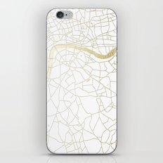 London White on Gold Street Map iPhone Skin