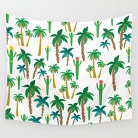 palm Wall Tapestries featuring palm by Ceren Aksu Dikenci