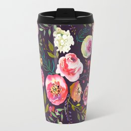 Floral watercolor chalk print pink peonies Travel Mug