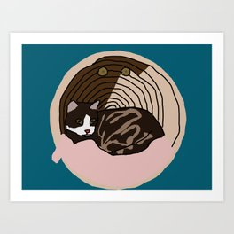 Cat in the basket Art Print