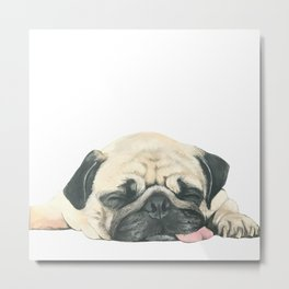 Nap Pug, Dog illustration original painting print Metal Print