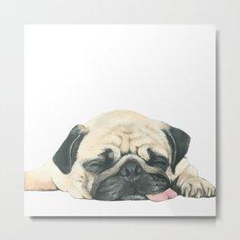 Nap Pug, Dog illustration original painting print Metal Print