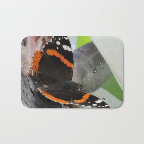 Red Admiral on a White Bird of Paradise Bloom Bath Mat