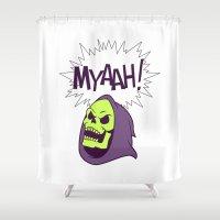 skeletor Shower Curtains featuring Skeletor Evil laugh He-man  by Komrod